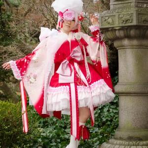 Red Sakura Ko-Furisode Kimono