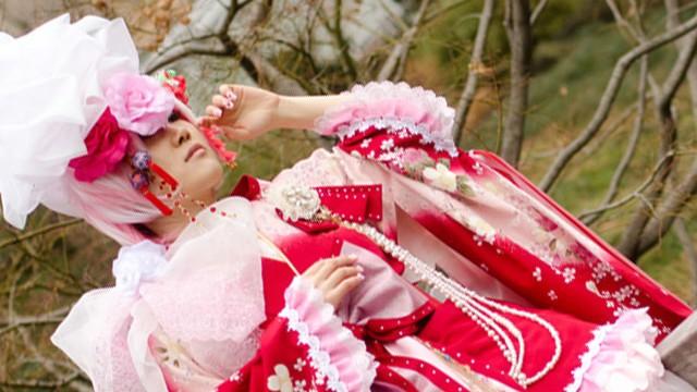Red Sakura Ko-Furisode Kimono Dress